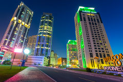 Skyscrapers of Dubai Marina at night Royalty Free Stock Images