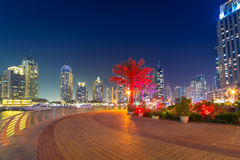 Skyscrapers of Dubai Marina at night Stock Photo