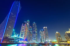 Skyscrapers of Dubai Marina at night Stock Photography