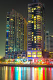 Skyscrapers of Dubai Marina at night Royalty Free Stock Photos