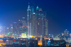 Skyscrapers of Dubai Marina at night Stock Image