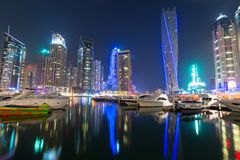Skyscrapers of Dubai Marina at night Stock Images