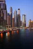 Skyscrapers of Dubai Marina at twilight Royalty Free Stock Image