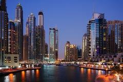 Skyscrapers of Dubai Marina at twilight Stock Photography