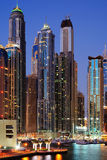 Skyscrapers of Dubai Marina at twilight Stock Photography