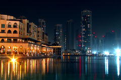 Skyscrapers in Dubai at night. Royalty Free Stock Photography
