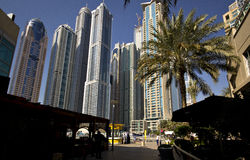 Skyscrapers in Dubai, United Arab Emirates. Skyscrapers in Dubai (UAE). In the last decades Dubai has become one of the most important financial center in the royalty free stock photos