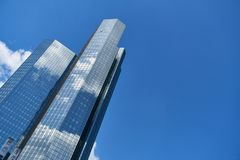 Skyscrapers in the financial district of Frankfurt am Main. Modern skyscrapers in the financial district of Frankfurt am Main in front of a blue sky Stock Photography