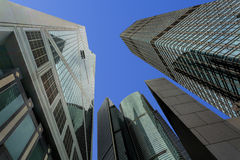 Skyscrapers in the financial district of Hong Kong Island, China Stock Photos