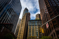 Skyscrapers in the Financial District of Manhattan, New York. Stock Photo