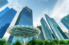 Skyscrapers in financial district of Singapore Royalty Free Stock Photo