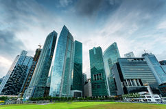 Skyscrapers in financial district of Singapore Royalty Free Stock Image