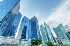 Skyscrapers in financial district of Singapore Royalty Free Stock Photography