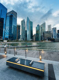 Skyscrapers in financial district of Singapore Stock Photos