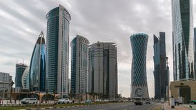 Skyscrapers in Financial District skyline in West Bay, Doha, Qatar stock photos