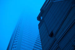 Skyscrapers in fog. Highrise buildings in fog early morning royalty free stock image