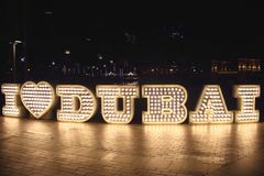 Lettering I love Dubai square in front of Dubai Mall Royalty Free Stock Image