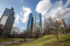 Skyscrapers frankfurt am main in germany in the spring Stock Photos