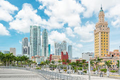 Skyscrapers and the Freedom Tower in Miami. MIAMI,USA - MAY 27,2014 :Modern skyscrapers in Biscayne Bolevard and the Freedom Tower in downtown Miami Stock Photography