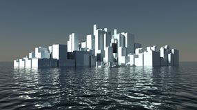 Skyscrapers of future modern city ashore Stock Images