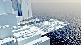 Skyscrapers of future modern city ashore Royalty Free Stock Photo