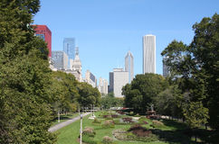 Skyscrapers and garden. Picture about beautiful city Chicago with skyscrapers and garden Stock Images