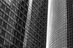 Skyscrapers glass facades in Paris business center La Defense. Urban architecture, modern office buildings. Abstract Stock Images