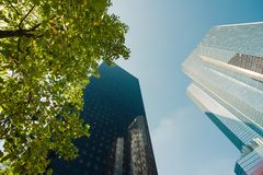 Skyscrapers glass facades in Paris business center La Defense. Urban architecture, modern office buildings. Abstract Stock Image