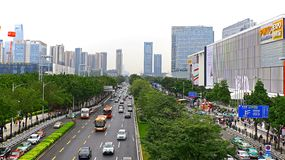 Downtown china : Guangzhou tianhe area stock photo