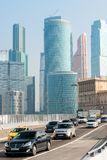 Skyscrapers and highways, Moscow City skyline. Road traffic royalty free stock images