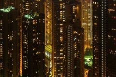 Skyscrapers in Hong Kong at night Stock Photos