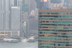 Skyscrapers in Hong Kong, view from Kowloon. Stock Photos