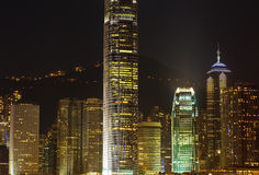 Skyscrapers of hongkong at night Royalty Free Stock Photo