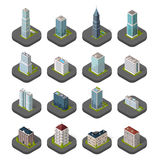 Skyscrapers House Building Icon. Skyscraper logo building icon. Set of buildings and isolated skyscraper. Isometric tower and office city architecture buildings Stock Images