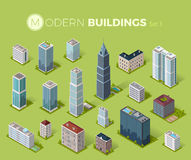 Skyscrapers House Building Icon. Skyscraper logo building icon. Set of buildings and isolated skyscraper. Isometric tower and office city architecture buildings Royalty Free Stock Photography