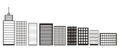 Skyscrapers and Houses, Black and White color Icons Buildings and City skyline icon vector Concept of downtown elements isolated o Stock Photos