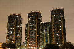 Skyscrapers housing complex Rechnoy at night. Royalty Free Stock Photography