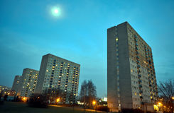 Skyscrapers on a housing estate at night Royalty Free Stock Photography