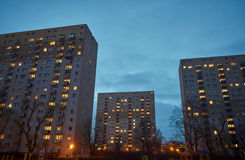Skyscrapers on a housing estate at night Royalty Free Stock Photos