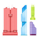 Skyscrapers icons set in detailed flat style. Modern futuristic vector illustration. Royalty Free Stock Images