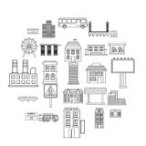 Skyscrapers icons set, outline style. Skyscrapers icons set. Outline set of 25 skyscrapers vector icons for web isolated on white background Stock Photography