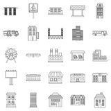 Skyscrapers icons set, outline style. Skyscrapers icons set. Outline set of 25 skyscrapers vector icons for web isolated on white background Stock Photos