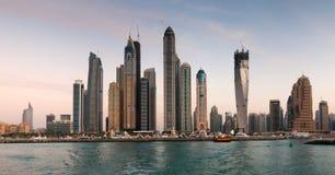 Skyscrapers In Dubai Marina At Sunset Stock Images