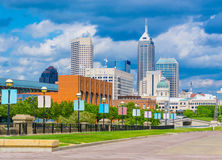 Skyscrapers of Indianapolis skyline, White River State Park, Ind Stock Image