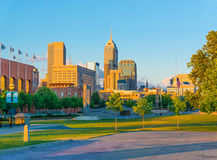 Skyscrapers of Indianapolis skyline,White River State Park,India Stock Images
