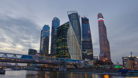 Skyscrapers International Business Center City day to night timelapse hyperlapse, Moscow, Russia stock footage