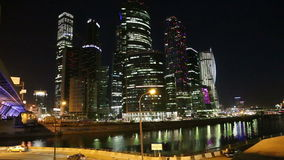 Skyscrapers International Business Center (City) at night, Moscow, Russia stock footage