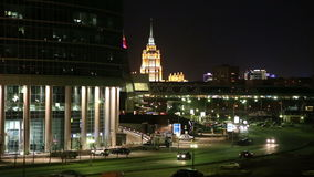 Skyscrapers International Business Center (City) at night, Moscow, Russia stock video