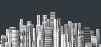 Skyscrapers isolated on dark background. 3D illustrating. Skyscrapers isolated on dark background. 3D illustrating Stock Photography