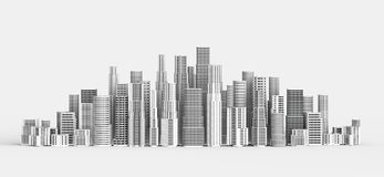 Skyscrapers isolated on white background. 3D illustrating. Skyscrapers isolated on white background. 3D illustrating Royalty Free Stock Photography